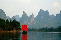 Boat on Li River, Guilin, China Fine Art Print