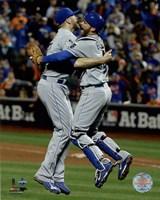 Wade Davis & Drew Butera celebrate winning Game 5 of the 2015 World Series Fine Art Print