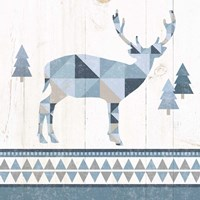 Nordic Geo Lodge Deer I Fine Art Print