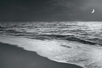 Moonrise Beach Black and White Fine Art Print