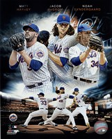 2015 New York Mets Pitchers- Matt Harvey, Jacob deGrom, & Noah Syndergaard Portrait Plus Framed Print
