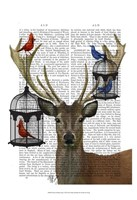 Deer & Bird Cages Framed Print