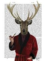 Deer in Smoking Jacket Framed Print