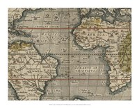 Antique World Map Grid V Framed Print