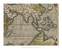 Antique World Map Grid VI Framed Print