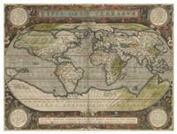 Antique World Map 36x48 Fine Art Print