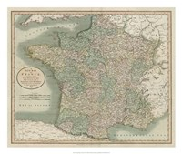 Vintage Map of France Framed Print