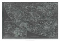 Map of Paris Grid III Framed Print