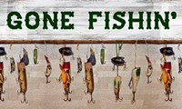 Gone Fishin' Wood Fishing Lure Sign Fine Art Print