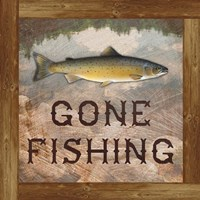 Gone Fishing Salmon Sign Fine Art Print