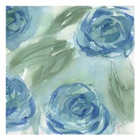 Blue Green Roses II Framed Print