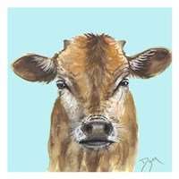 Little Bull Blue Framed Print