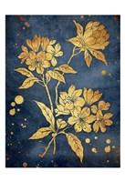 Floral Golden Blues Framed Print