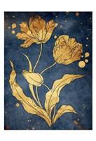 Floral Golden Blues Mate Framed Print