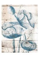 White Wood Blue Florals Mate Framed Print