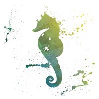 Seahorse Splatter Framed Print