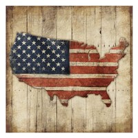 Wooden US Map Fine Art Print