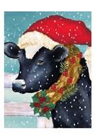 Christmas Cow Vertical Framed Print