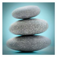 Stacking Stones 1 Teal Fine Art Print