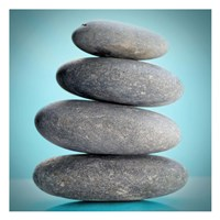 Stacking Stones 2 Teal Fine Art Print