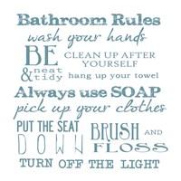 Bathroom Rules White Fine Art Print