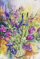 Iris Blue And Tulips Too Fine Art Print