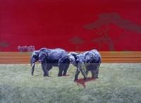 Elephants With Red Sky Fine Art Print
