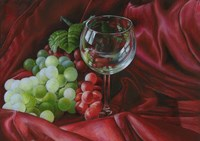 Red Satin and Grapes Fine Art Print