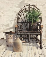 Wicker Chair With Ice Cream Churn Fine Art Print