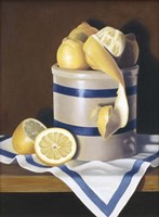 Blue Stripes & Lemons Fine Art Print
