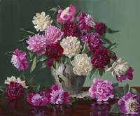 Peonies In Peacock Vase Fine Art Print