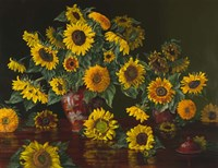 Sunflowers with Two Crimson Vases Fine Art Print