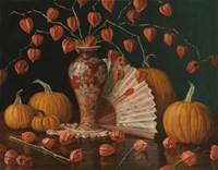 Chinese Lanterns Pumpkin And Fan Fine Art Print
