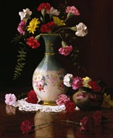 Carnations in a Victorian Vase Fine Art Print