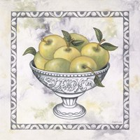 Green Apples In A Silver Bowl Framed Print
