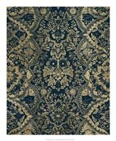 Baroque Tapestry in Aged Indigo II Framed Print