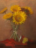 Sunflowers and Red Cloth Fine Art Print