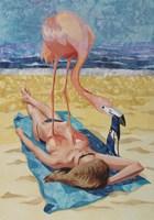 Flamingo On Sun Bather Fine Art Print
