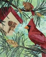 Cardinals And Birdhouse Fine Art Print