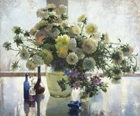 Chrysanthemums on a Glass Table Fine Art Print