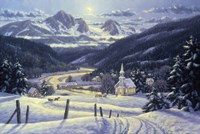 Mountain Village In Winter Fine Art Print
