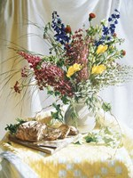 Wild Flowers And Yellow Quilt W/Bread Fine Art Print