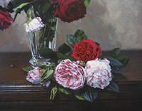 Ruby And Peppermint Roses Fine Art Print