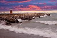 Lighthouse at Sunset, Michigan 09 Fine Art Print