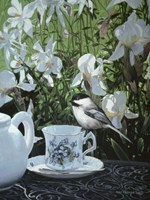 Chickadee And Teacup Fine Art Print