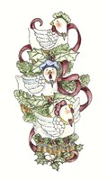French Hens Stocking Fine Art Print