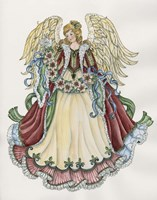 Angel With Ribbon Of Pointsettias Fine Art Print