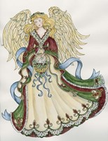 Angel With Basket And Dove Fine Art Print