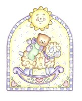 Teddy Bear On Lamb Rocker Fine Art Print