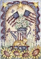Garden Cat and Flags Fine Art Print